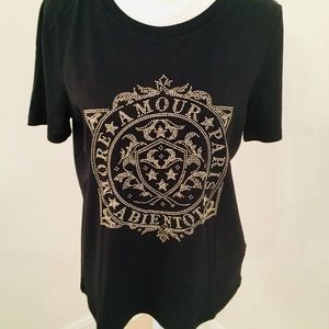 "H&M ""MORE AMOUR PARIS A BIENTOT"" BLK/GOLD TEE"